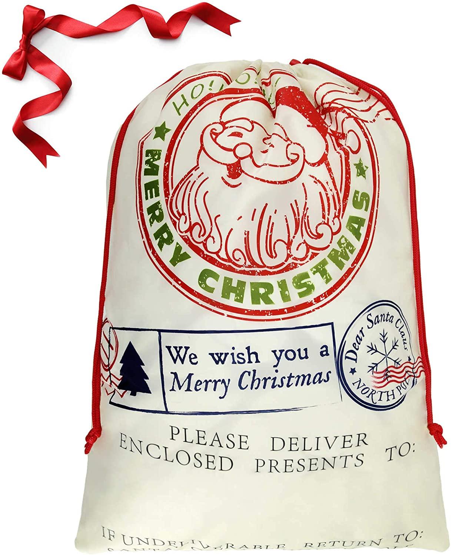 BeeGreen Large Drawstring Christmas Bag Santa Claus Sack Gift Bag Xmas Bag Christmas Wrapping Gift Bag