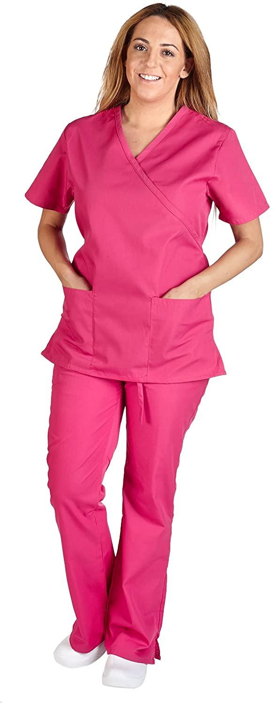 M&M Scrubs Women Mock Wrap/Flare Pant Set Medical Scrub Set M Hot Pink