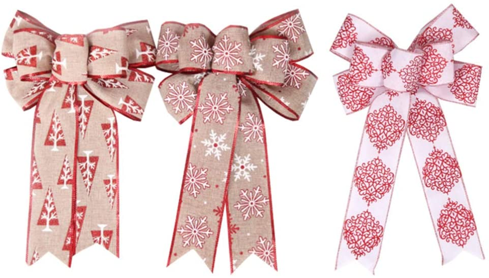 PRETYZOOM 3pcs Christmas Ribbon Bows Mini Christmas Tree Bows Xmas Bowknot Decoration Ornaments for Xmas Wreaths Gift Wrapping Supplies