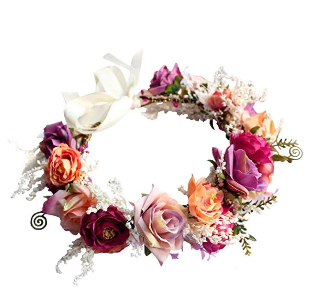 Adjustable Flower Headband Hair Wreath Floral Garland Bridal Crown Headpiece with Ribbon Boho Wedding Festival (Flower)