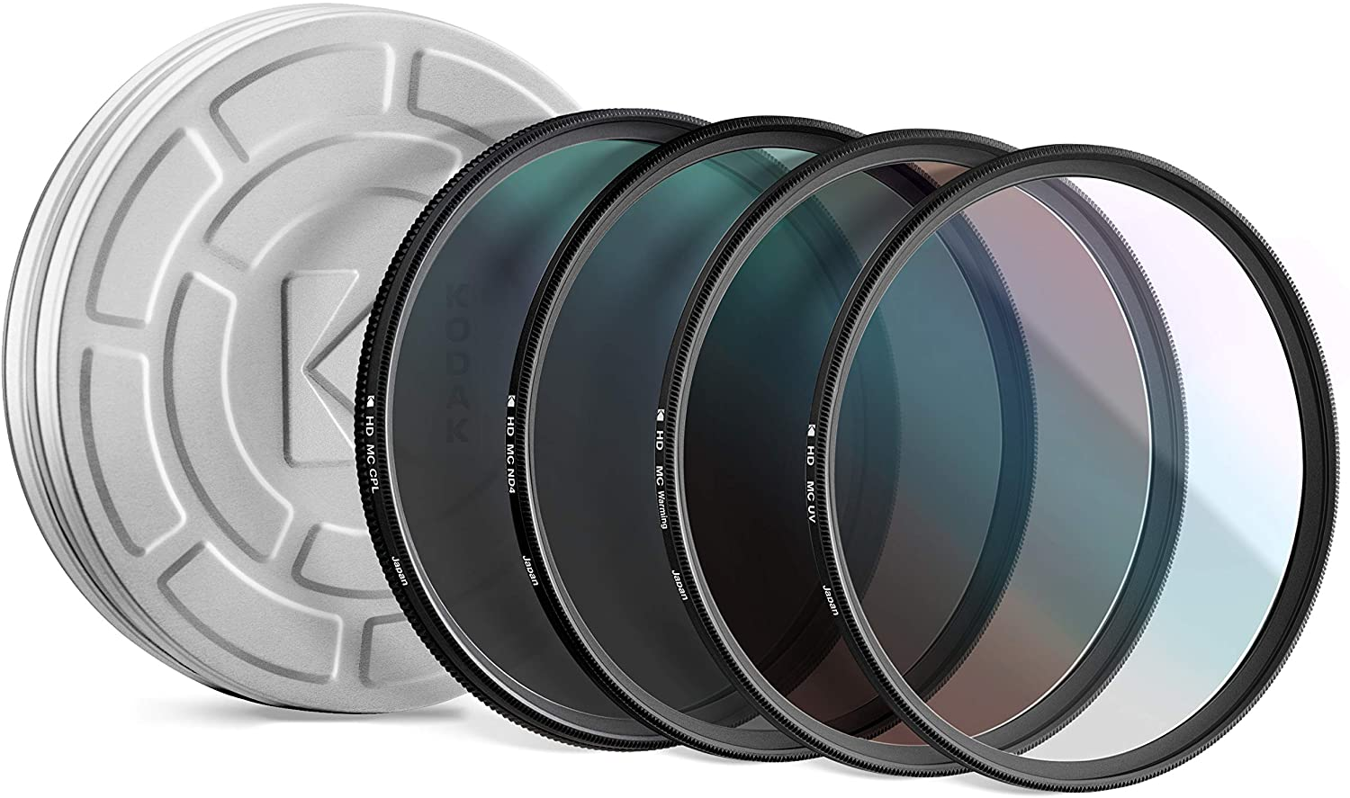 KODAK 72mm Filter Set UV, CPL, ND4 & Warming Filters - Absorb Atmospheric Haze Reduce Glare Prevent Overexposure Correct Color Add Warmth, Creative Effects | Slim, Multi-Coated Glass & Mini Guide