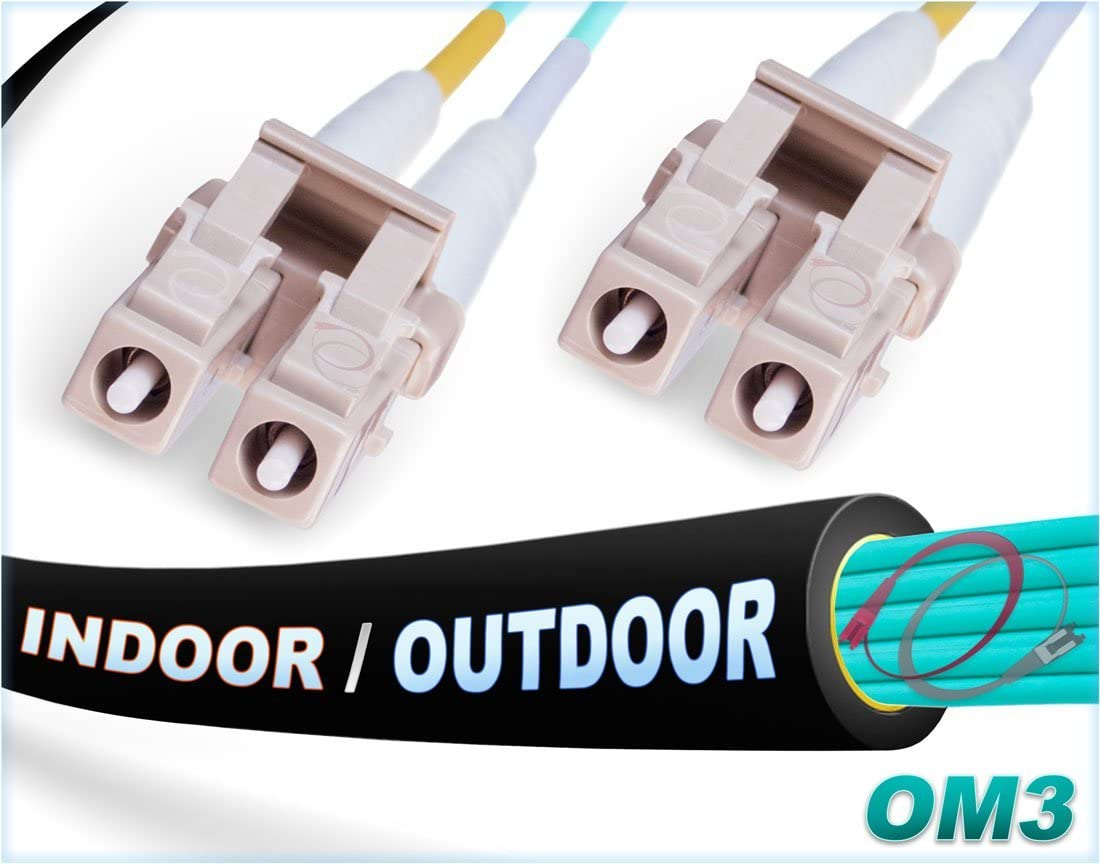 FiberCablesDirect - 8M OM3 LC LC Fiber Patch Cable | Indoor/Outdoor 10Gb Duplex 50/125 LC to LC Multimode Jumper 8 Meter (26.24ft) | Length Options: 0.5M-300M | 1/10/40/100g sfp 10gbase lc-lc ofnr