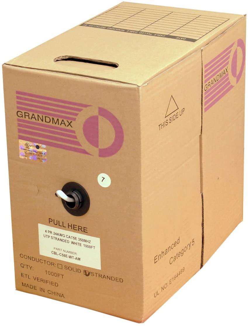 GRANDMAX CAT5e 350MHz Stranded Ethernet PVC Bulk Cable, 1000ft, Wire UTP Pull Box, CMR Rated, 100% Copper, 4 Pair, 24 AWG/ 1000FT/ White