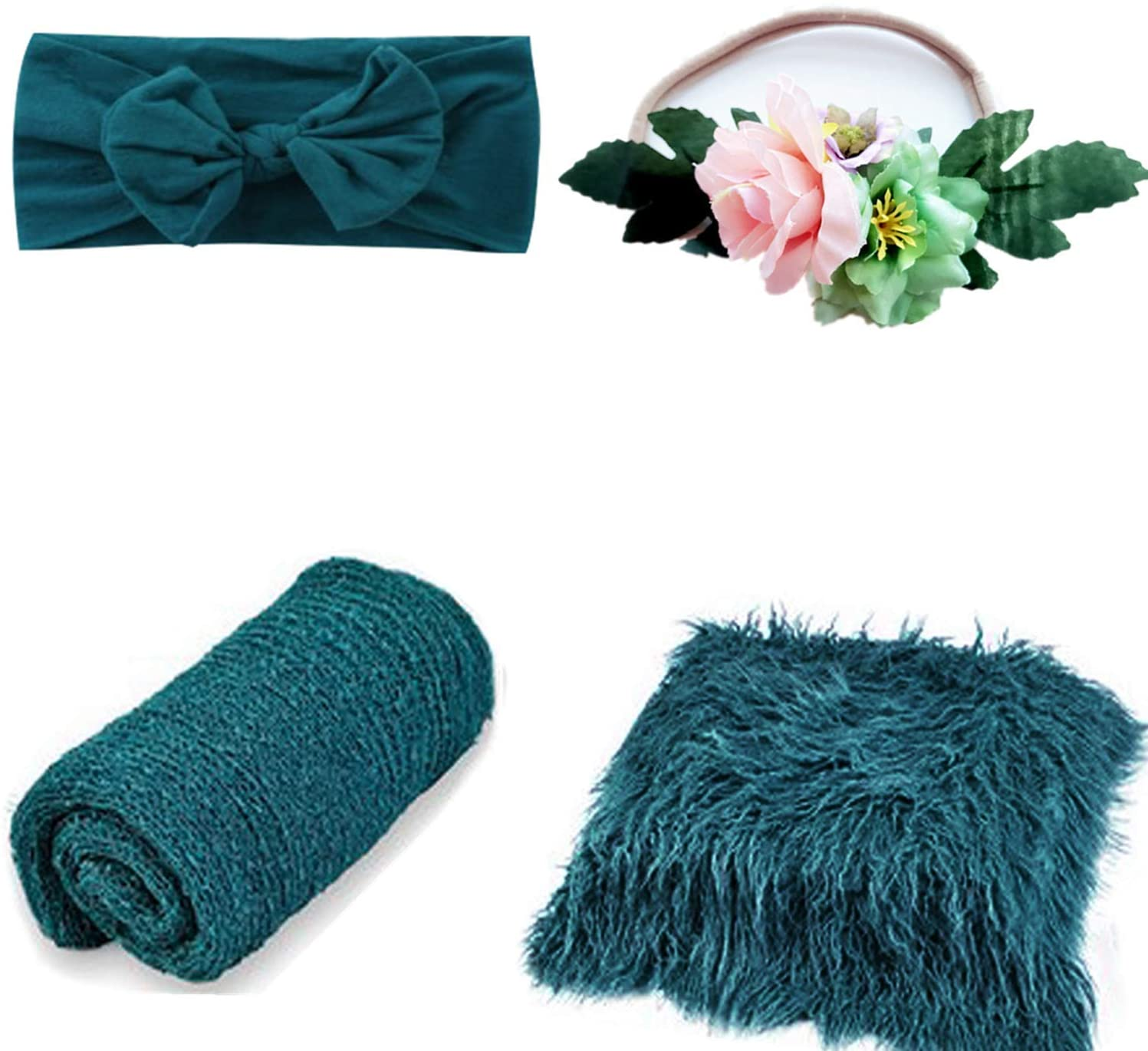 4 Pcs Newborn Photography Props Outfits- Baby Dark Green Long Ripple Wrap and Toddler Swaddle Blankets Photography Mat with Cute Headbands for Infant Boys Girls(0-12 Months)