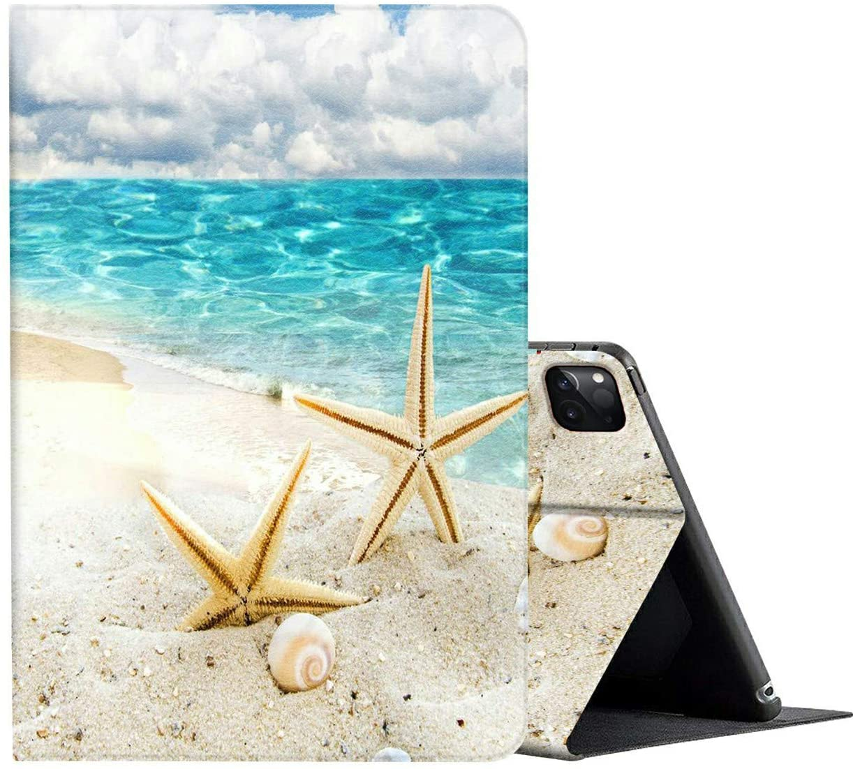 iPad Pro 12.9 Case 2020,AMOOK Adjustable Folio Smart Cover Stand Shockproof TPU Case with Auto Sleep/Wake & Anti-Slide Design for Apple iPad Pro 12.9 Inch 4th Generation - Blue Ocean Style Starfish
