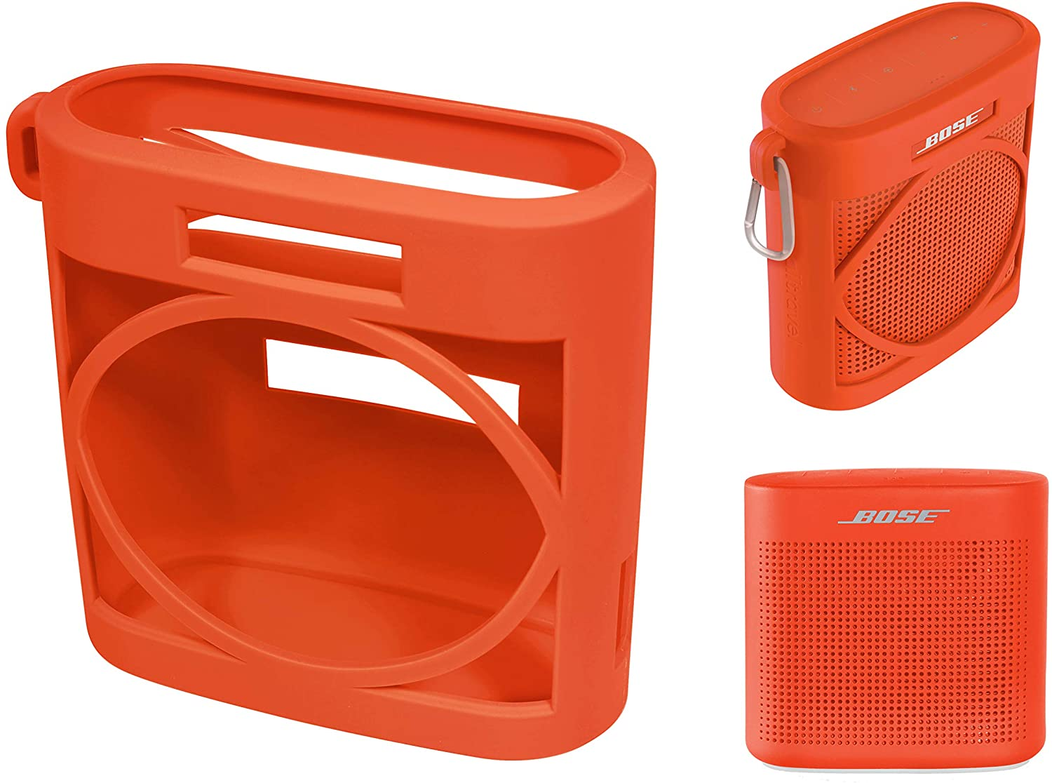 Silicone Cover Skin for Bose SoundLink Color Bluetooth Speaker II, by Alltravel, Full 6 Directions Protection, Customized Skin with Color and Shape Matching(Coral Red)
