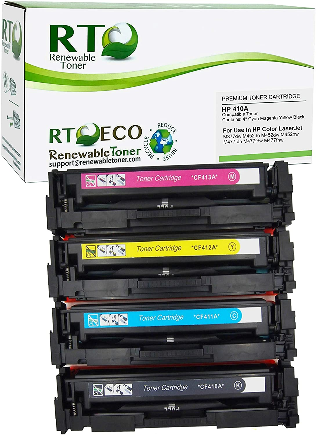 Renewable Toner Compatible Toner Cartridge Replacement for HP 410A CF410A CF411A CF412A CF413A for Laserjet M477 M452 M377 (Cyan, Magenta, Yellow, Black, 4-Pack)