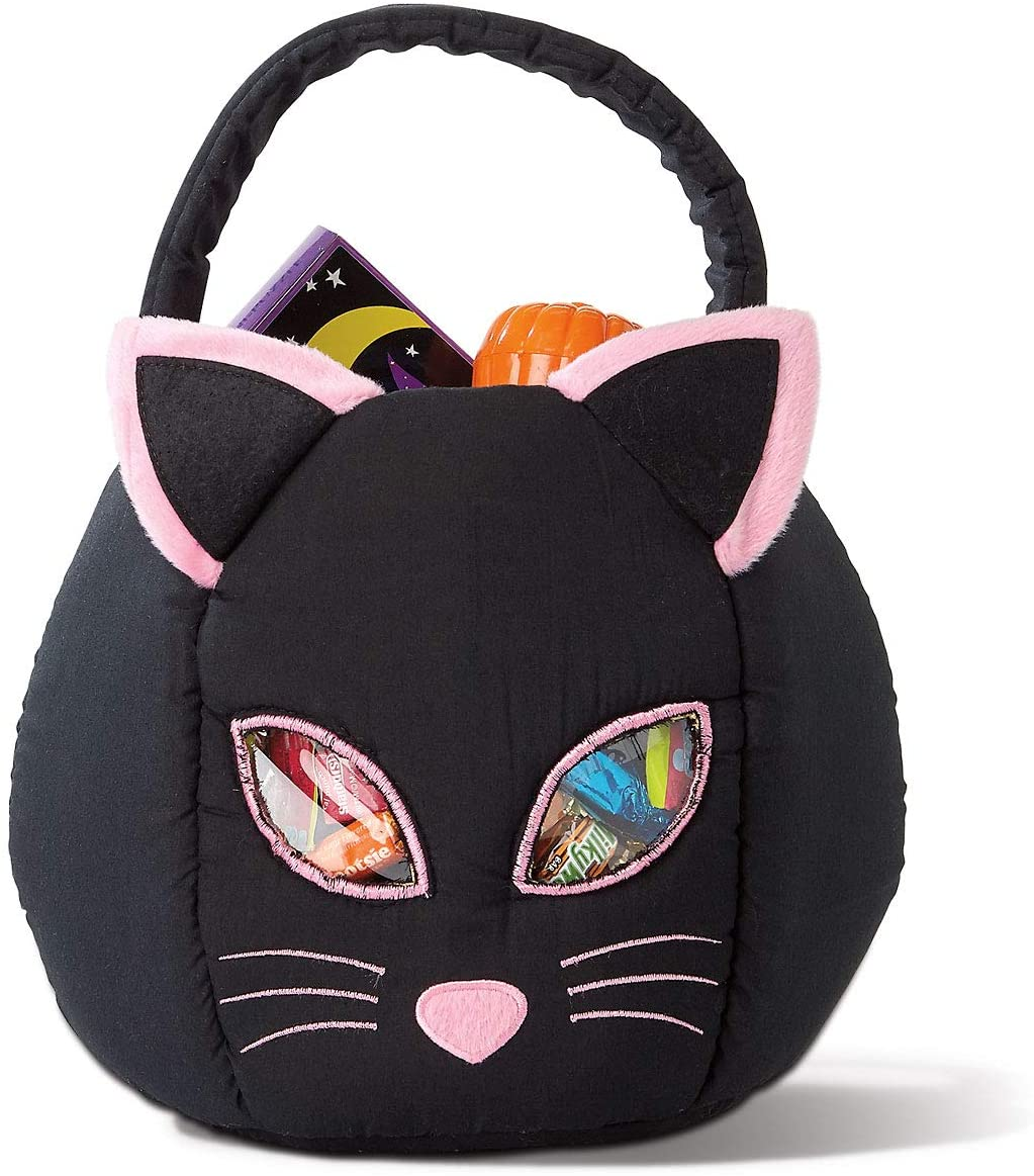 """Back Cat Halloween Treat Bag – Large Trick or Treat Tote & Candy Basket for Kids, Polyester, 10.5"""" Diameter (at widest) X 10.5"""" Tall, By Lillian Vernon"""