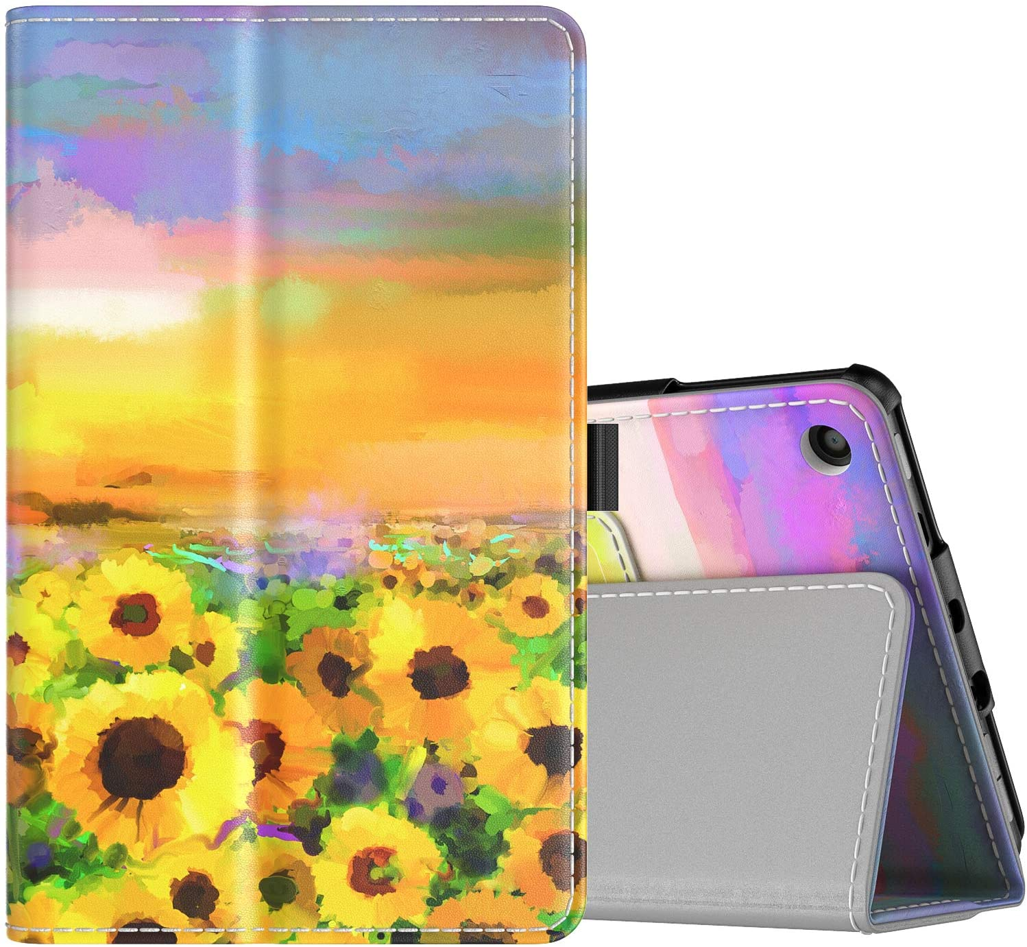TiMOVO Case Fits All-New Fire 7 Tablet (9th Generation, 2019 Release) - Lightweight Smart Shell Slim Folding Cover Case with Auto Wake/Sleep Fit DHgate Fire 7 Tablet - Sunflower