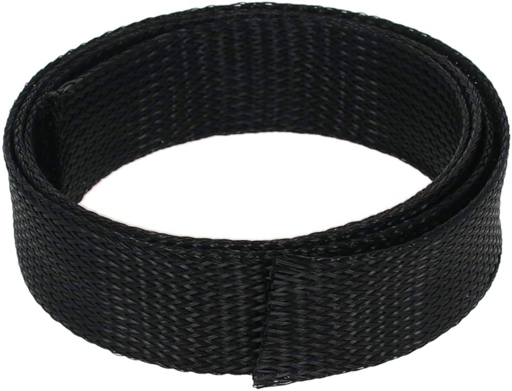 Othmro Expandable Braided Sleeving, 30mm Flat Width Braided Cable Sleeve, Black 1pcs
