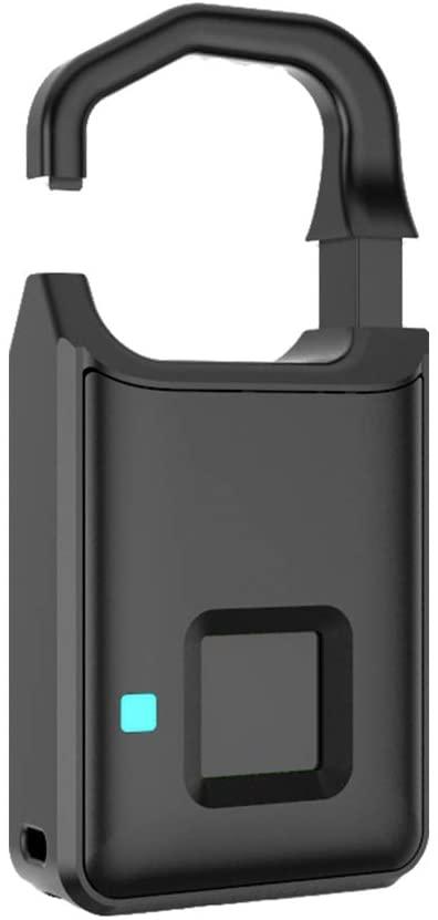 Extaum Intelligent Fingerprint Padlock LED Light Smart Waterproof Safe USB Rechargeable Door Lock for Gym, Door, Luggage, Suitcase, Backpack, Bike, Office