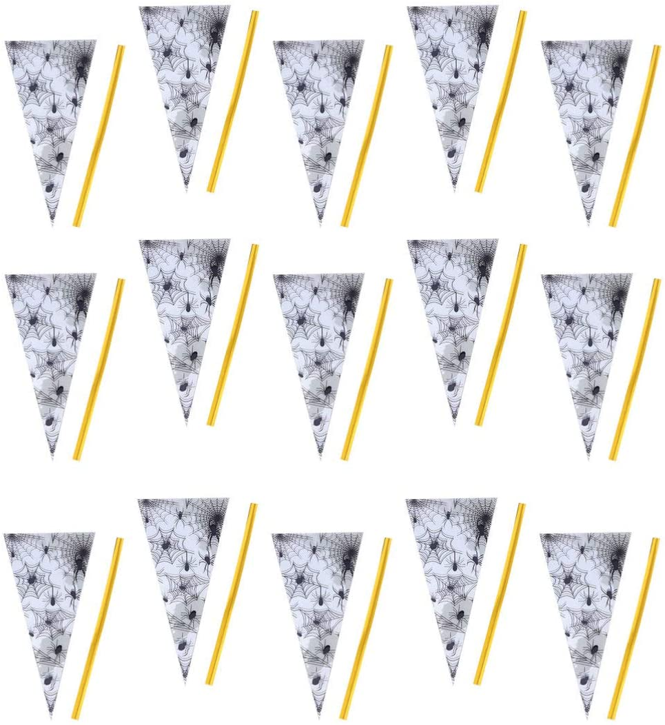NUOBESTY 150pcs Halloween Cone Bags with Ties Halloween Candy Bags Halloween Triangle Bags Halloween Treat Bag for Candy Party Gifts (Spider Web)