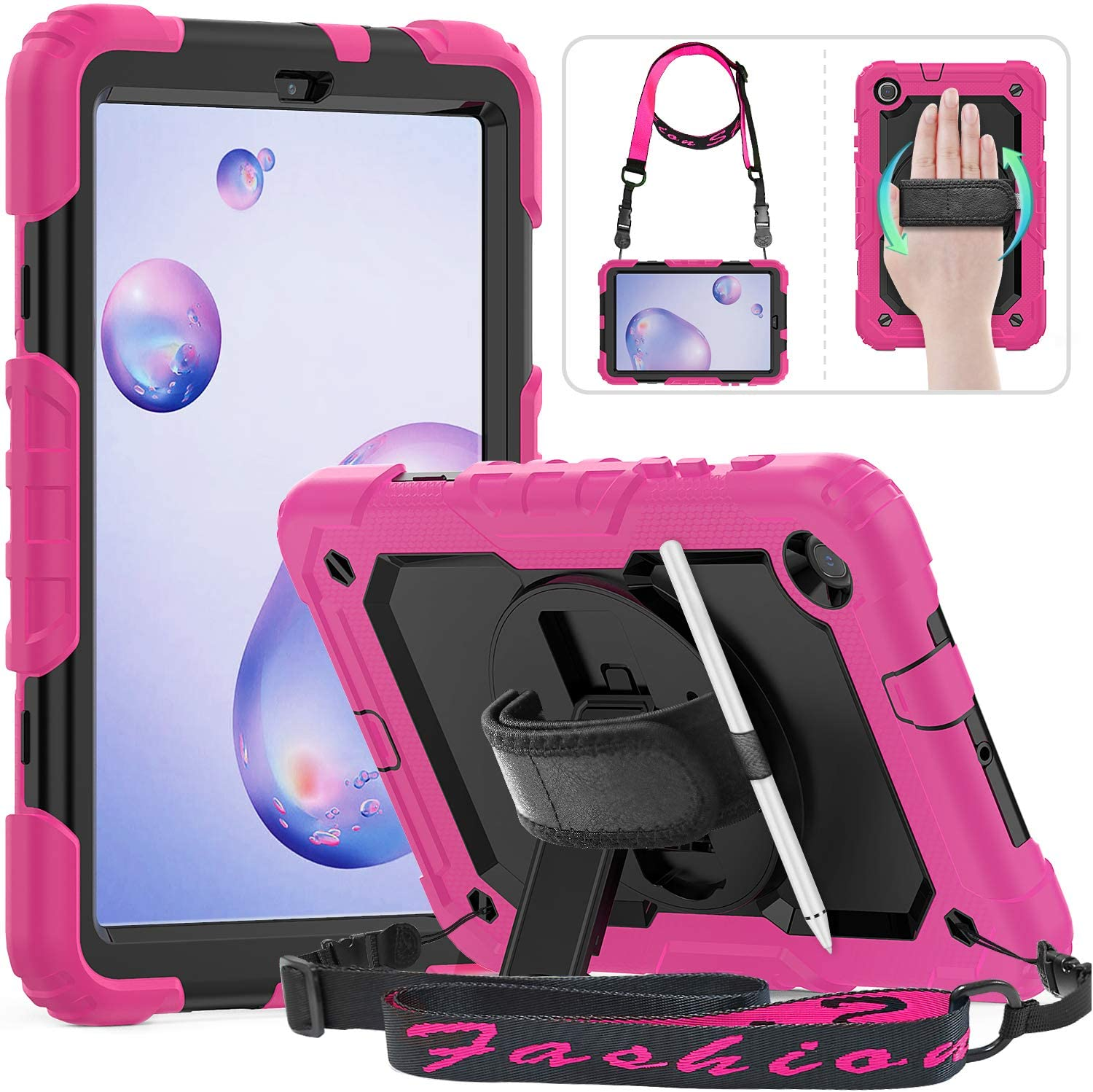 Samsung Galaxy Tab A 8.4 Case 2020 (SM-T307/SM-T307U), HXCASEAC Heavy Duty Rugged Case with 360 Rotating Hand Strap/Stand [Shoulder Strap] Pencil Holder Screen Protector for Galaxy Tab A 8.4 Inch,Pink