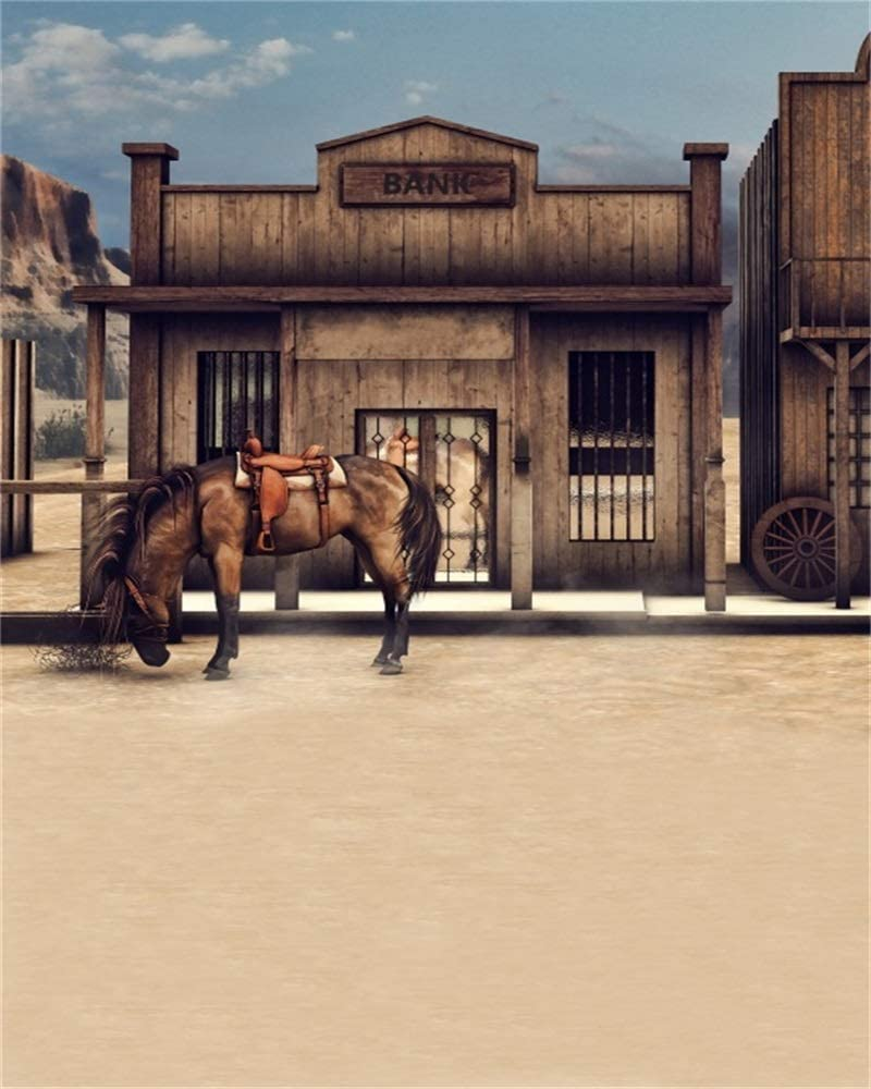 LFEEY 8x10ft Wild West Wooden Bank Barn Backdrop Western Cowboy City Street Horse Wood Building Stable Background Portrait Photography Props Photo Studio Video Props