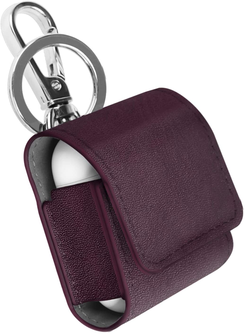 Fintie Case for AirPods, Premium PU Leather Magnet Closure Protective Portable Cover Skin with Metal Clasp and Keychain for AirPods 1 and AirPods 2 Charging Case, Burgundy