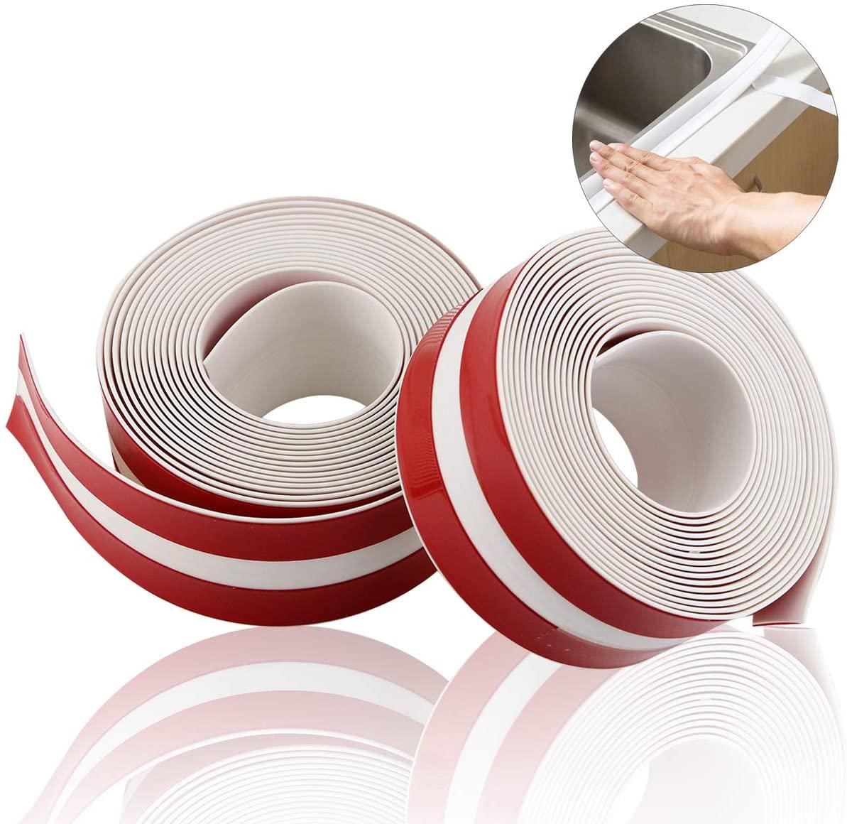 Twdrer 2 Rolls PE Caulk Strip Self-Adhesive Waterproof Sealing Strip Tape Decorative Sealant Trim,Bathroom Shower Toilet Kitchen Floor Wall Edge Protector,White, 126