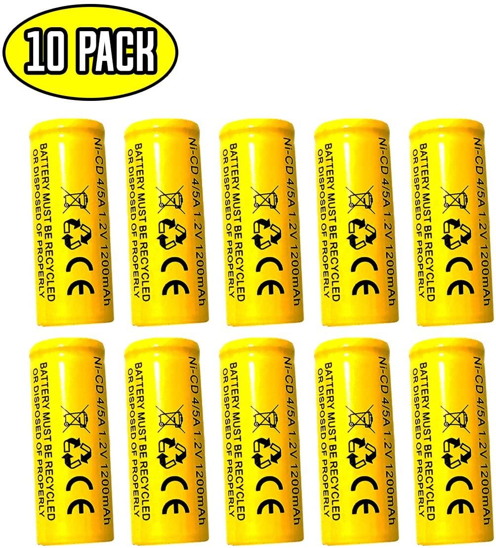 (10 Pack) Lithonia LES ELN LRES ELN Lithonia ELB1201N 1.2v 1200mah Ni-cd Battery Replacment for Exit Sign Emergency Light ELB-1210N ELB-1201N Sanyo KR-1200AUL KR1100AE KR-1500AUL