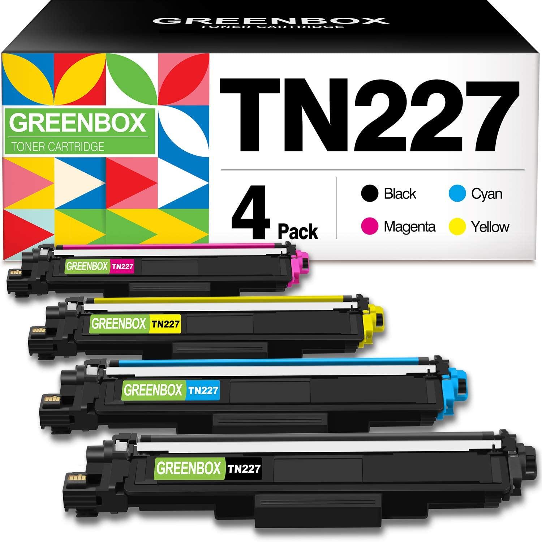 GREENBOX Compatible Toner Cartridge Replacement for Brother TN227 TN-227 TN227BK TN223 TN-223 for HL-L3210CW HL-L3230CDW HL-L3270CDW HL-L3290CDW MFC-L3710CW MFC-L3750CDW MFC-L3770CDW (4 Pack)