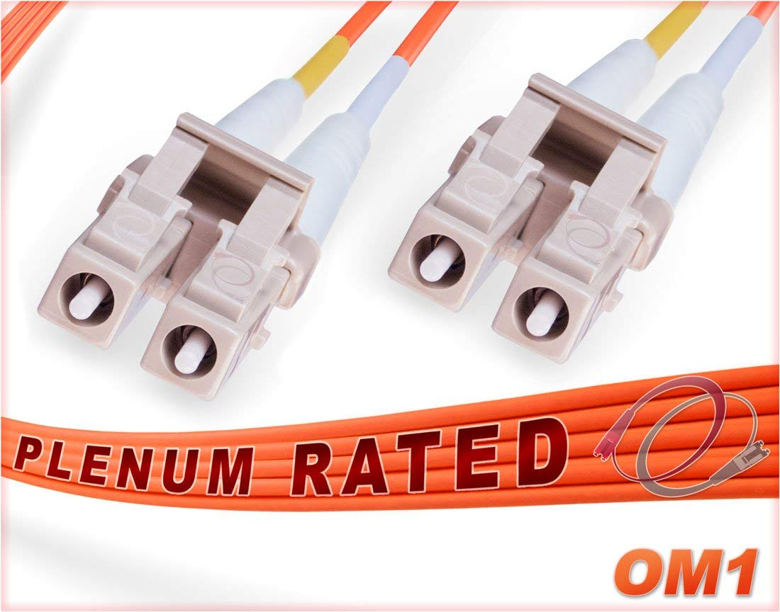 FiberCablesDirect - 15M OM1 LC LC Fiber Patch Cable | 1G Plenum Duplex 62.5/125 LC to LC Multimode Jumper 15 Meter (49.21ft) | Length Options: 0.5M-300M | Made In USA | 1/10g mmf sfp 1gbase ofnp lc-lc
