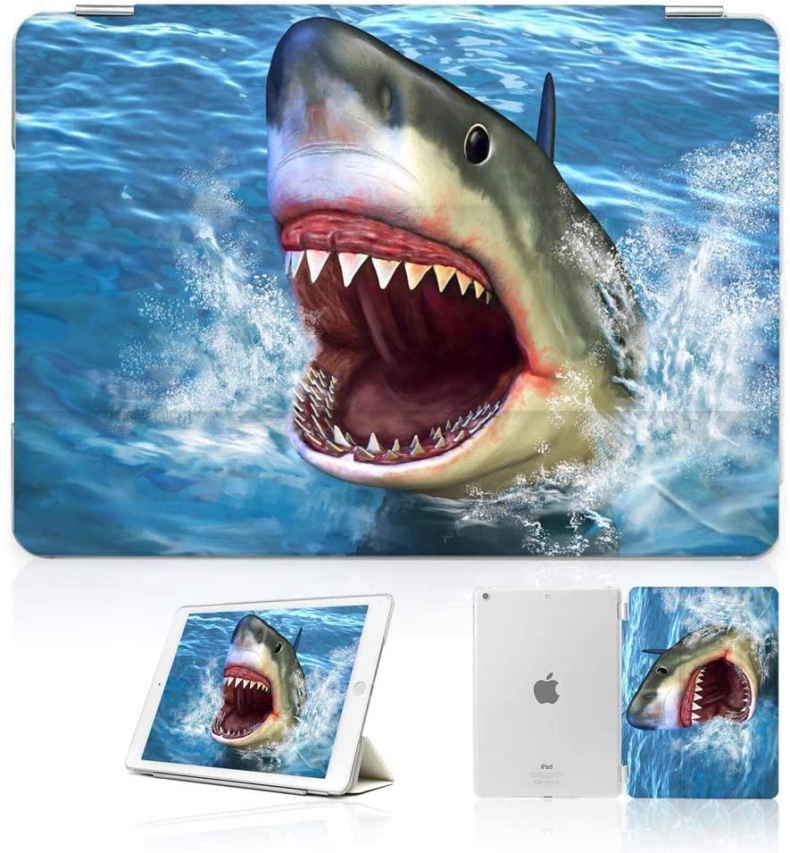 for iPad 5 5th Generaton, iPad 6 6th Generation, iPad 9.7 inch 2017 2018 Version, Designed Smart Case Cover, SMART40071 Terrible Shark Large Teeth 40071