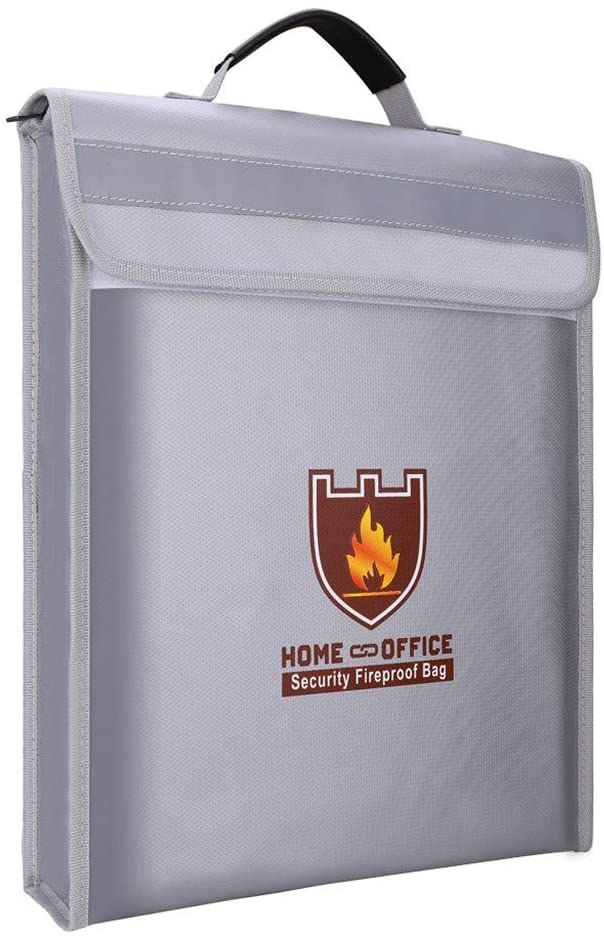 Fireproof Document Bag Fire Resistant & Water Resistant Money Bag Safe Storage, Home Storage (Silver), Shipping from The United States