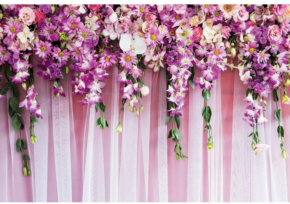 OERJU 10x8ft Wedding Floral Wall Photography Background Pink Tulle Curtain Purple Flowers Bridal Shower Photo Backdrop Marriage Anniversary Party Decor Banner Vinyl Photo Studio Props Newborn Photo