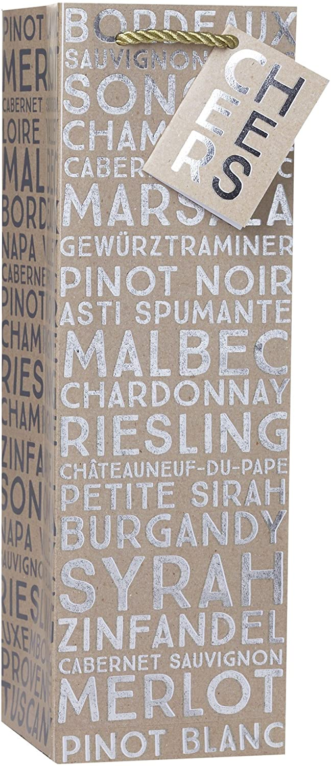 Jillson Roberts 6-Count Wine and Bottle Gift Bags Available in 12 Different Designs, Sommelier