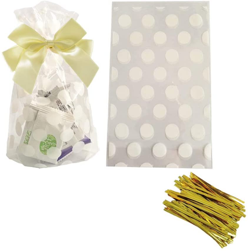 White Polka Dot Clear Cello Candy Favor Bags,Cellophane Cookie Treat Plastic Bags,with Gold Twist Ties, Pack of 50