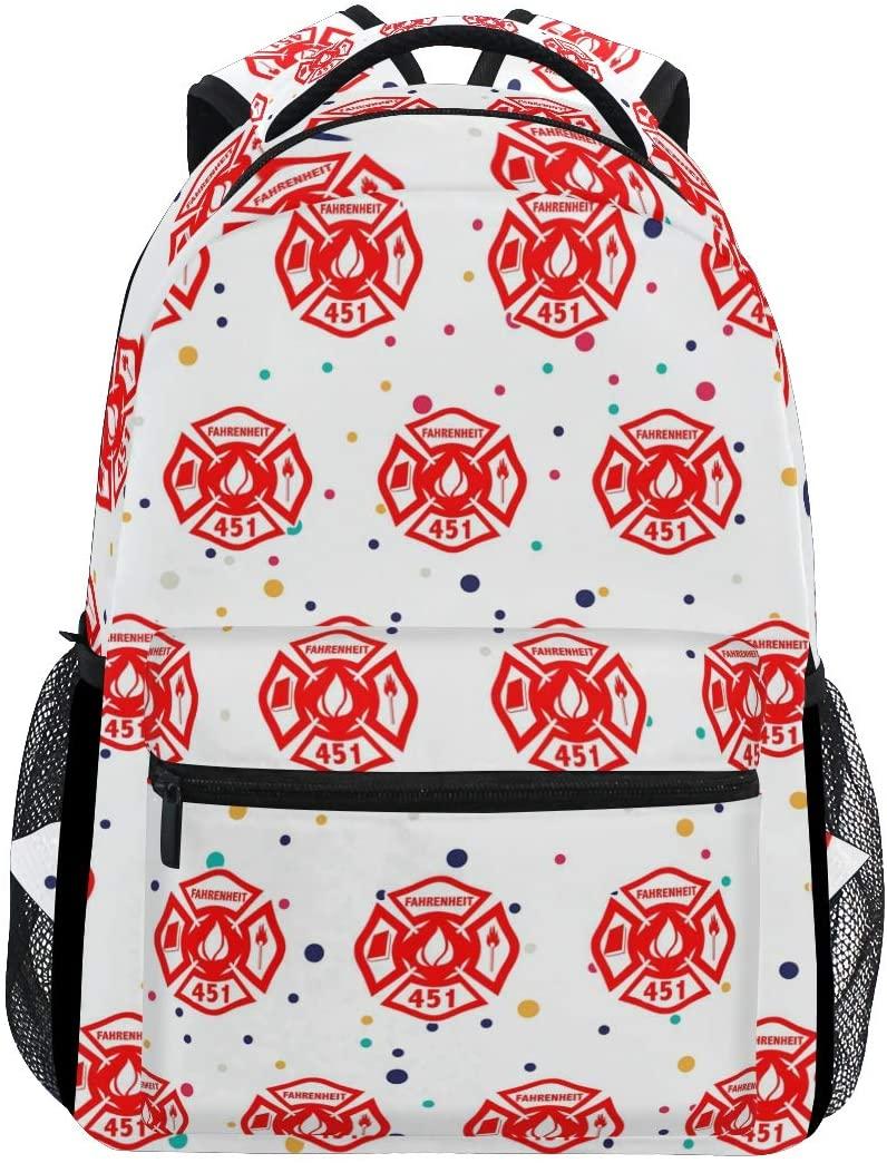 Stylish Fireman Firefighter Backpack- Lightweight School College Travel Bags, ChunBB 16 x 11.5 x 8