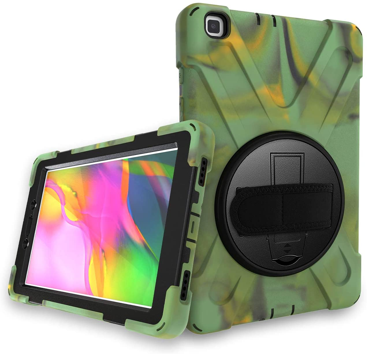 Case for Samsung Galaxy Tab A 2019 8.0 Inch SM-T290/T295,Kickstand with 360 Degree Rotatable 3 Layer Hybrid Heavy Duty Shockproof Hand Strap and Shoulder Strap Design for T290 Tablet(Camouflage)