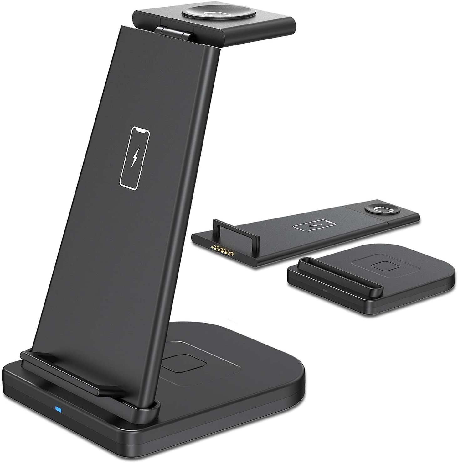 Wireless Charging Station, Hargedis 3 in 1 Fast Wireless Charger Stand, Qi-Certified Wireless Charger for iPhone 11/11 Pro Max/XR/XS Max/Xs/X/8/8P, iWatch 5/4/3/2, AirPods Pro/Airpods 2