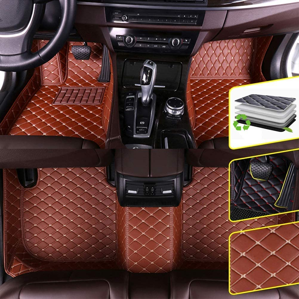 DBL Custom Car Floor Mats for Infiniti 2007-2013 Infiniti G Notchback Waterproof Non-Slip Leather Carpets Automotive Interior Accessories 1 Set Brown