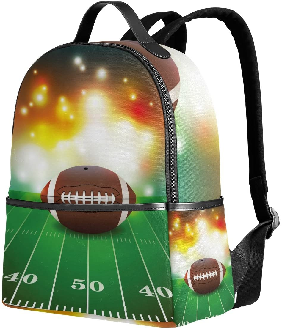 Use4 American Football on Grass Turf Field Polyester Backpack School Travel Bag