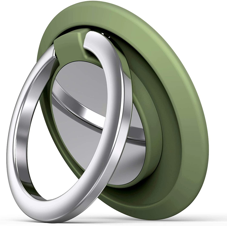 Phone Ring Holder Finger Kickstand, Cell Phone Ring Holder Finger Grip 360 Degree Rotation (Olive Green)