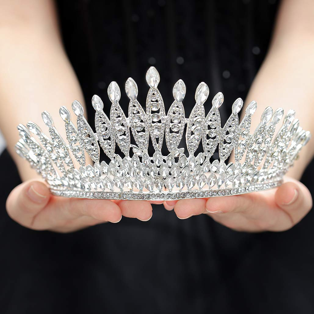 Gangel Baroque Sliver Crowns Princess Crown with Crystal Wedding Bridals Tiaras Hair Accessories for Brides And Girls Wedding Prom Birthday Party Halloween Christmas Cosplay(Pack of 1)