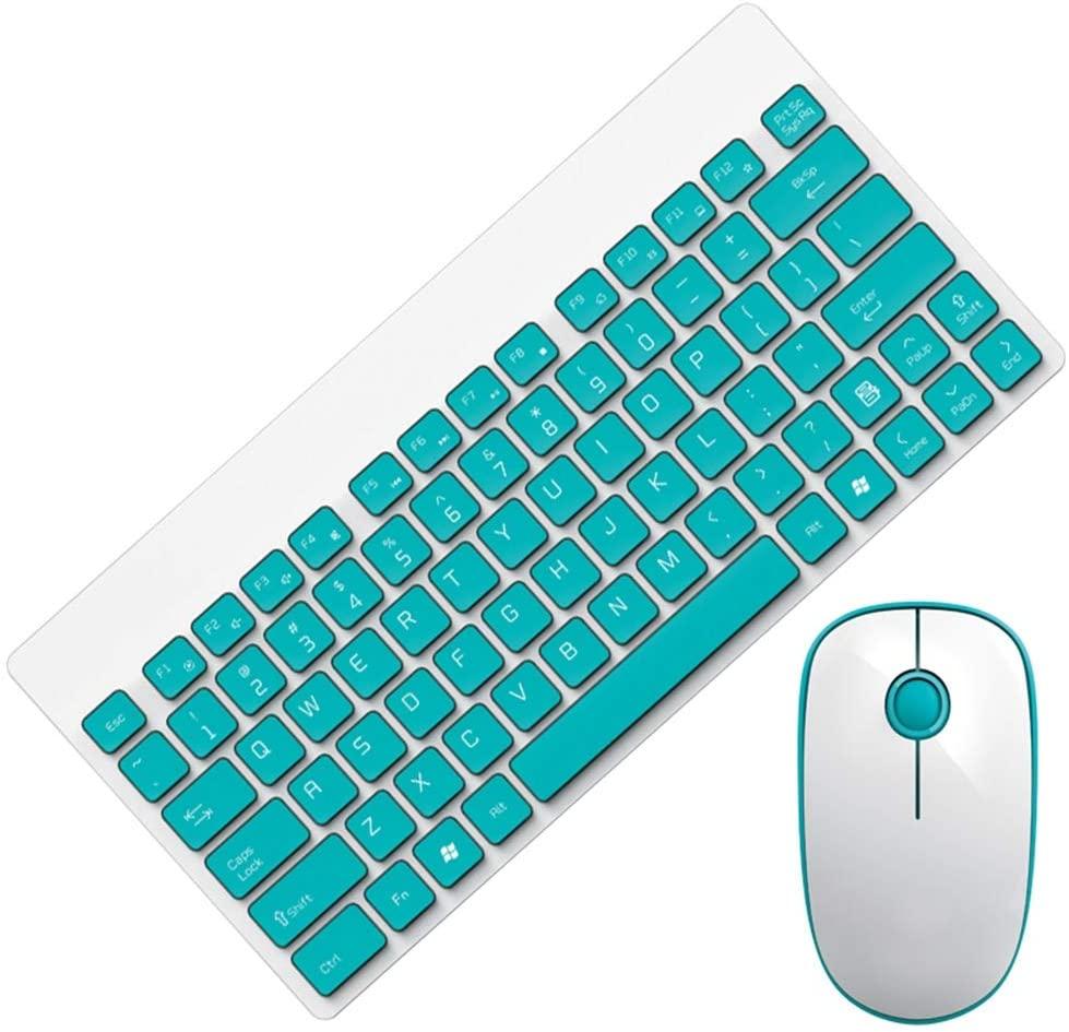 Bluetooth Keyboard Mouse Combo - 1500 2.4ghz Wireless Mute 90 Keys+Multimedia Keyboard and Mouse Set(Green)
