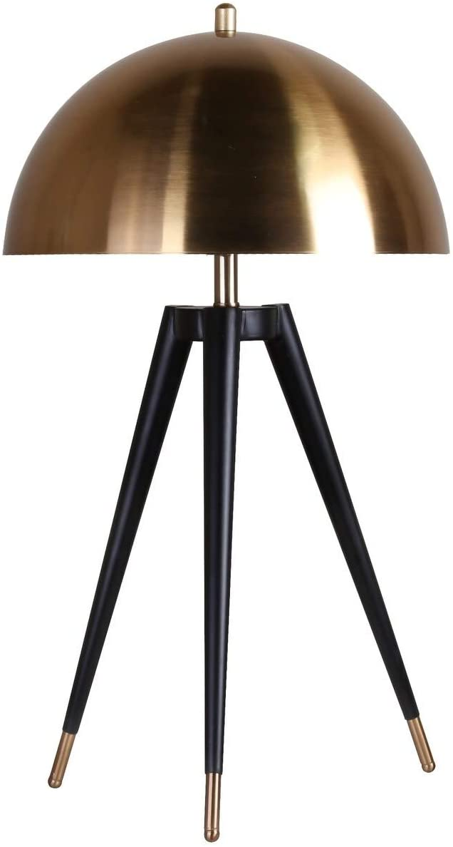 Black Tripod Leg Table Lamp with Gold Metal Hardware and Shade