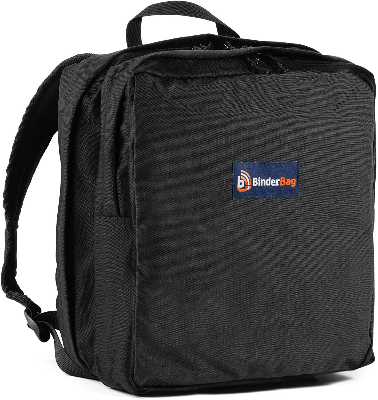 BinderBag Backpack Zippered 3-Ring Binder Bag (Black)