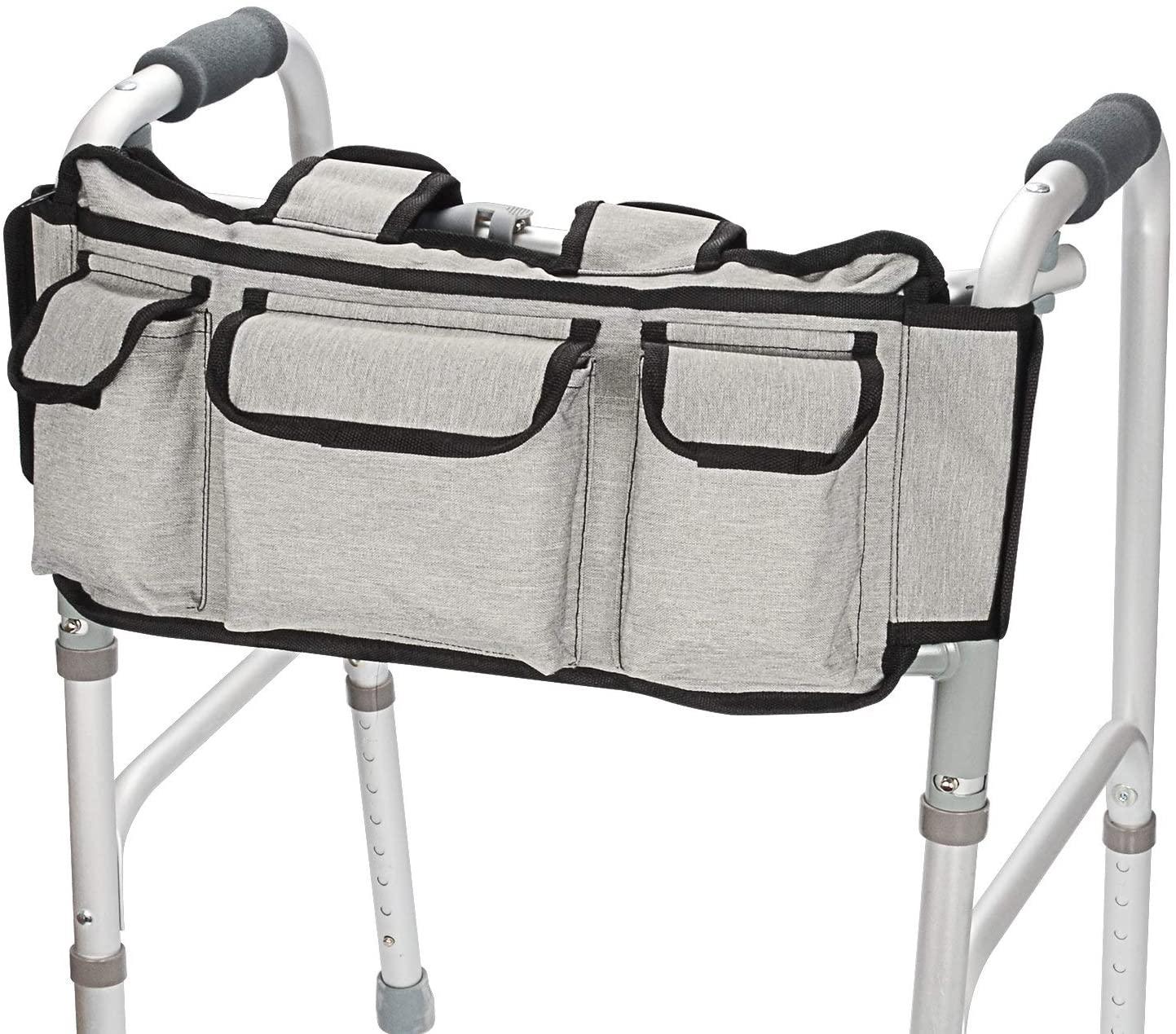 SupreGear Walker Bag, Folding Walker Basket Organizer Pouch Tote for Walker Style Rollator and Wheelchair (Grey)