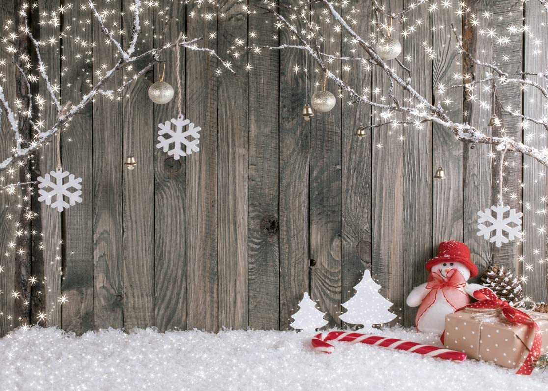 LYWYGG 8X6FT Christmas Backdrop Snow Floor Photo Backgrounds Wooden Wall Photography Backdrops for Child CP-70-0806