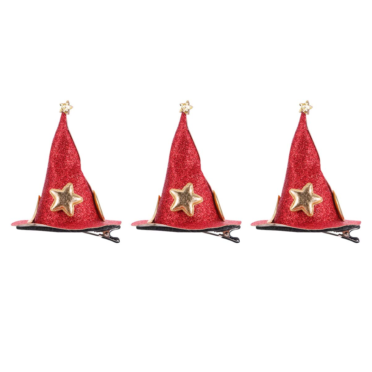 KESYOO Halloween Mini Witch Hats Hair Clip Shining Star Moon pattern Hairpins Barrettes for Halloween Party Headdress Dress Up 3Pcs (Red)