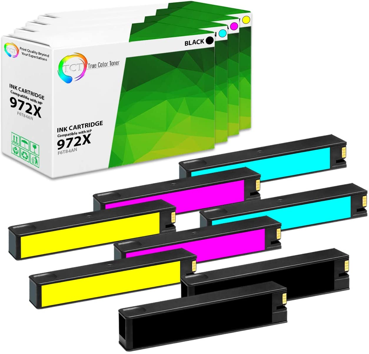 TCT Compatible Ink Cartridge Replacement for HP 972X High Yield Works with HP PageWide Pro 452dn 477dn 477dw 552dw Printers (Black F6T84AN, Cyan L0R98AN, Magenta L0S01AN, Yellow L0S04AN) - 8 Pack