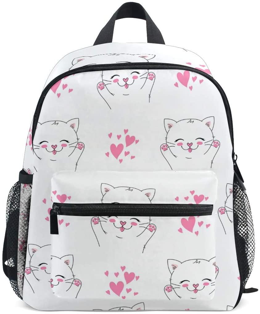 Kitten Cat White Toddler Backpack Kindergarten Preschool Kids Bag