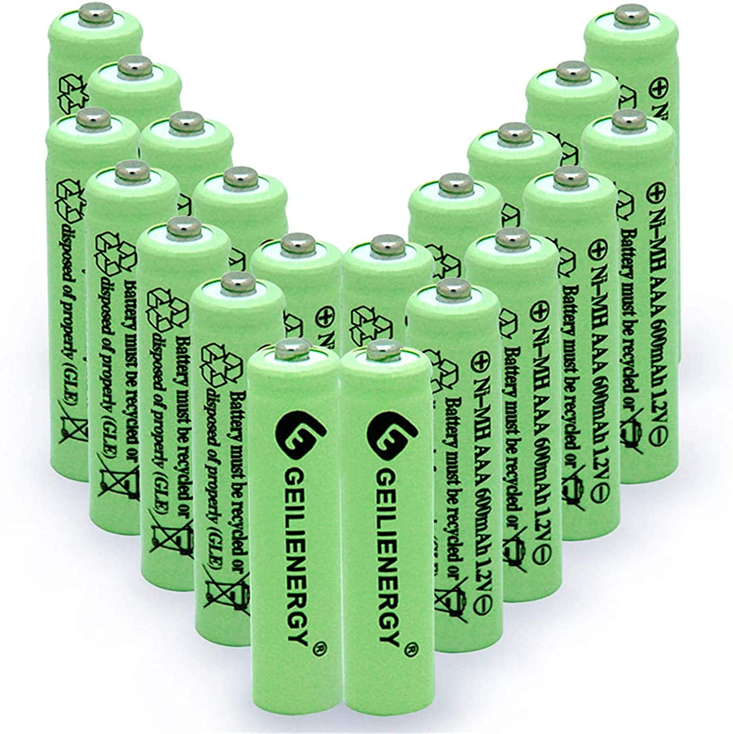 OXWINOU 1.2V AAA 600mAh NI-MH Rechargeable Battery for Outdoor Solar Lights,Garden Lights, Remotes, Mice (Green 20 PCS)