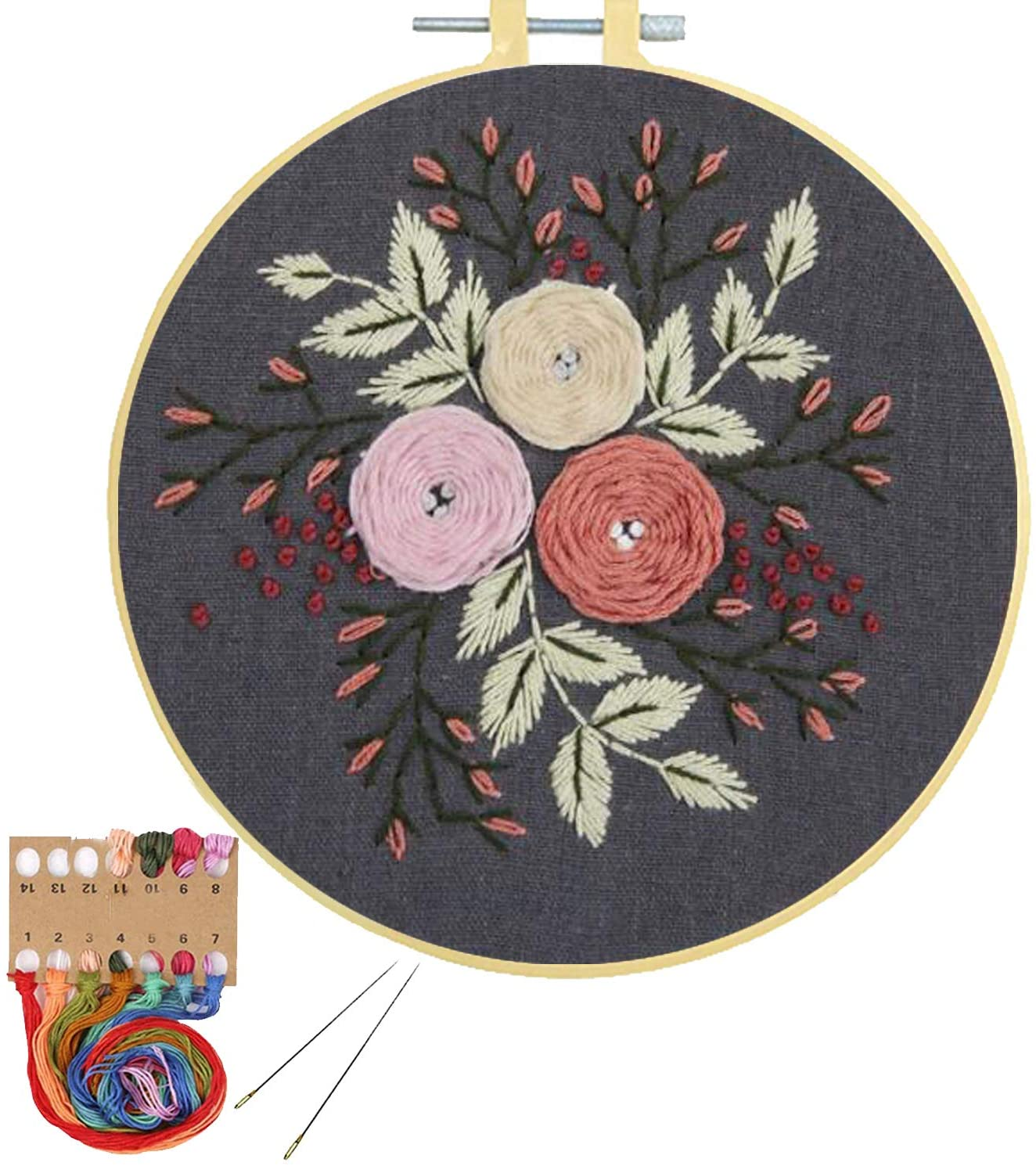 Embroidery Kit with Pattern for Beginners Cross Stitch Kit, Pinkol Stamped Starters Kit Needlepoint Adults Kids Embroidery Hoops Printed Cloth Thread