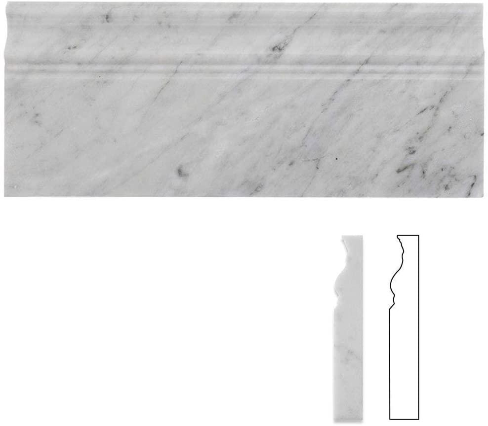 Diflart Carrara White Italian Bianco Carrera Marble 5x12 Baseboard Trim Molding Polished Pack of 5