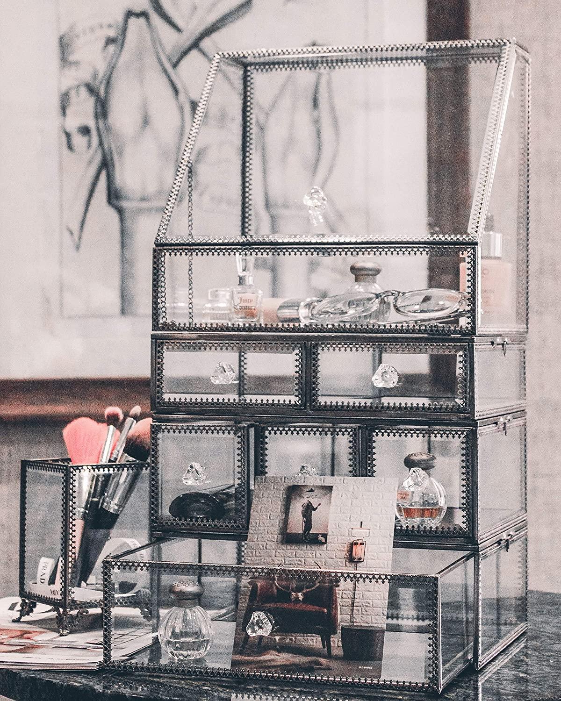 JCMAN Makeup Organizer Glass Large Copper Metal Cosmetic Storage SkincareVintage Beauty Display/Palette Holder/Perfume Storage/Bathroom Countertop Organizer/Spacious Dustproof for Vanity/Brushes