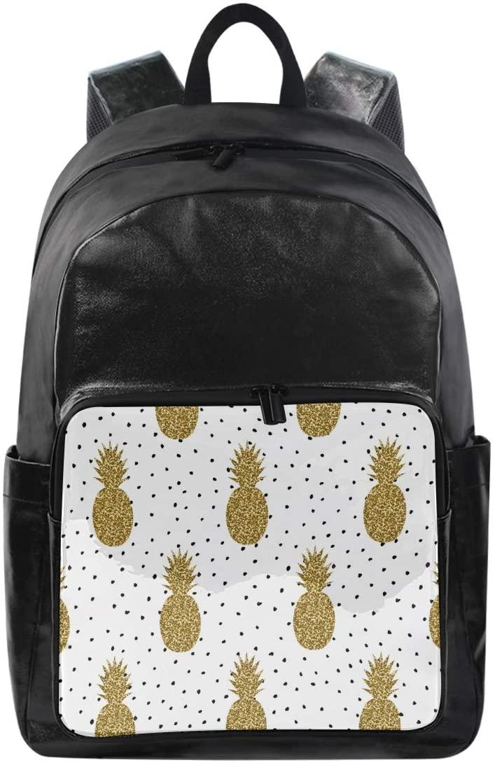 WXLIFE Gold Pineapple Polka Dot Backpack Waterproof Computer Bag Laptop Travel Sports Shoulder Bag Hiking Camping Daypack