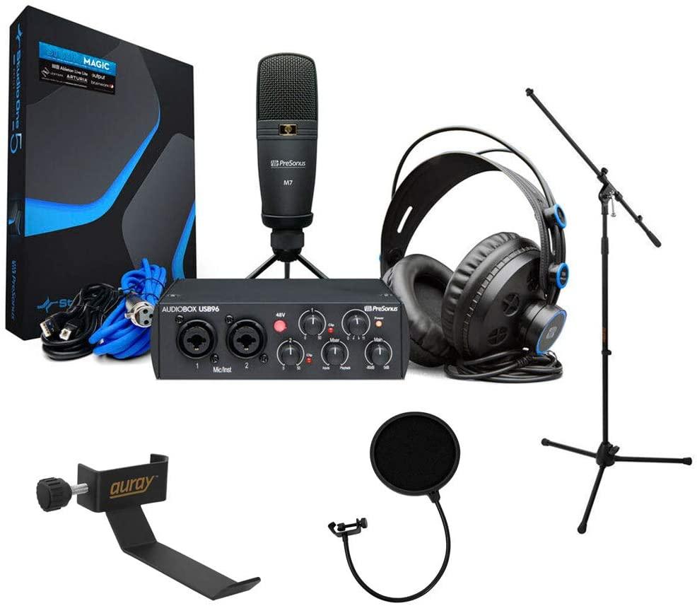 PreSonus AudioBox 96 Studio Recording Bundle (25th Anniversary Black) with Mic Stand, Headphone Holder & Pop Filter Kit