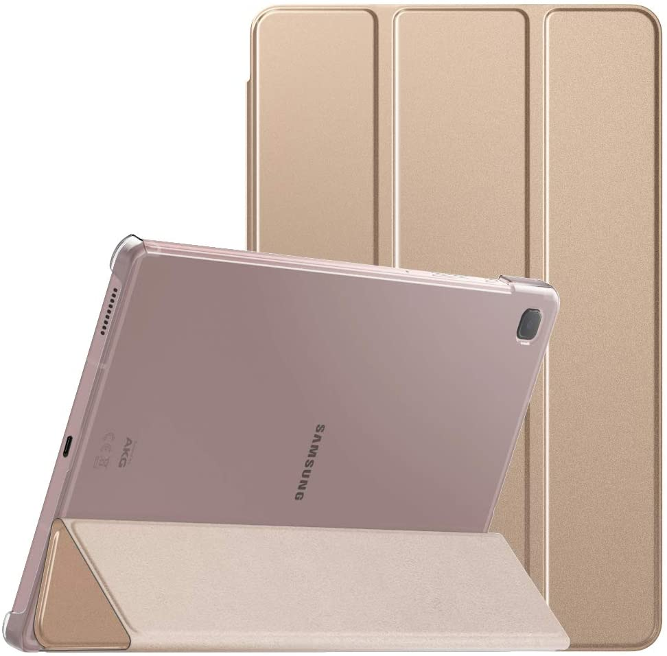 MoKo Case Compatible with Galaxy Tab S6 Lite 10.4 2020, Smart Shell Stand Cover with Translucent Frosted PC Back Shell Fit Samsung Galaxy Tab S6 Lite 10.4 2020 SM-P610/P615 ONLY - Rose Gold